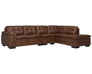 Trevor Medium Brown Leather Large Right Bumper Sectional