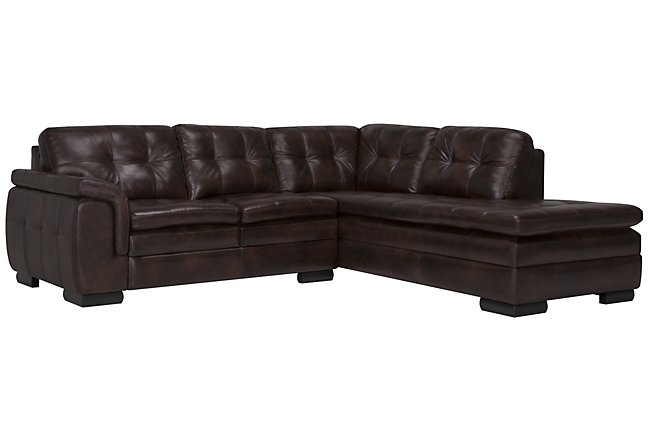 Swell Trevor Dark Brown Leather Small Left Bumper Sectional Gmtry Best Dining Table And Chair Ideas Images Gmtryco