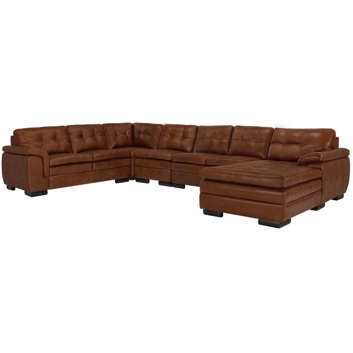 City furniture trevor medium brown leather large right for Brown leather sectional with chaise