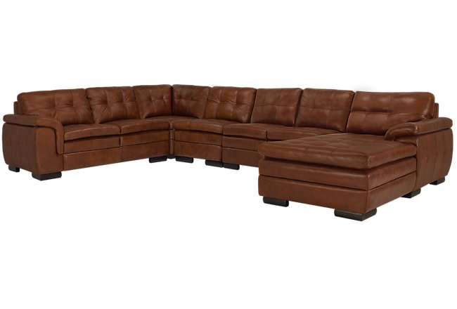 Surprising Trevor Medium Brown Leather Large Right Chaise Sectional Download Free Architecture Designs Scobabritishbridgeorg