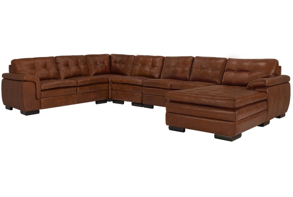 Trevor Medium Brown LEATHER Large Right Chaise Sectional ...