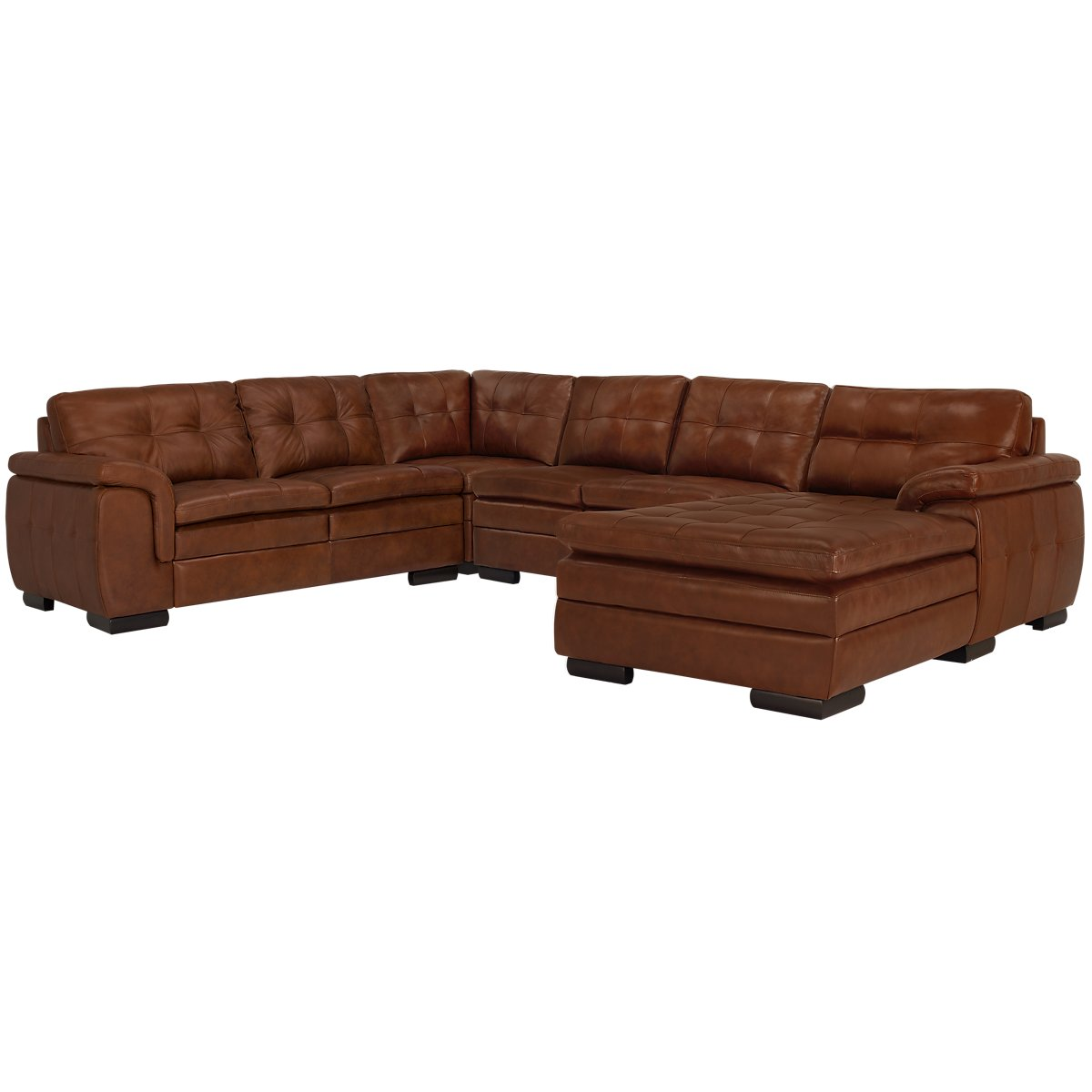 City Furniture Trevor Medium Brown Leather Small Right