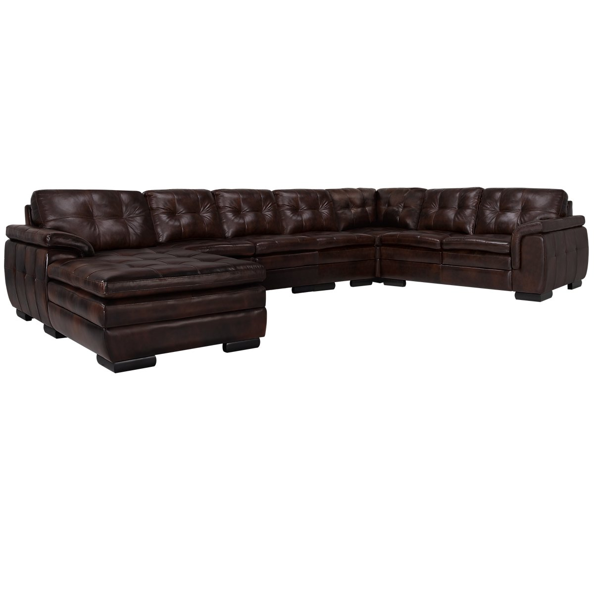 City furniture trevor dark brown leather large left for Brown leather chaise