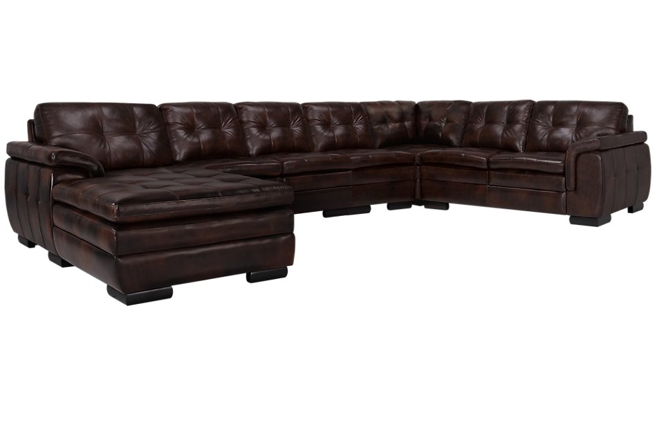 Phenomenal Trevor Dark Brown Leather Large Left Chaise Sectional Pdpeps Interior Chair Design Pdpepsorg