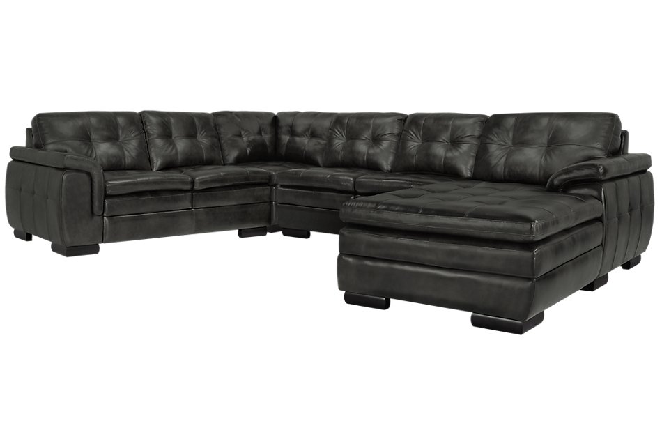 Fine Trevor Dark Gray Leather Small Right Chaise Sectional Short Links Chair Design For Home Short Linksinfo