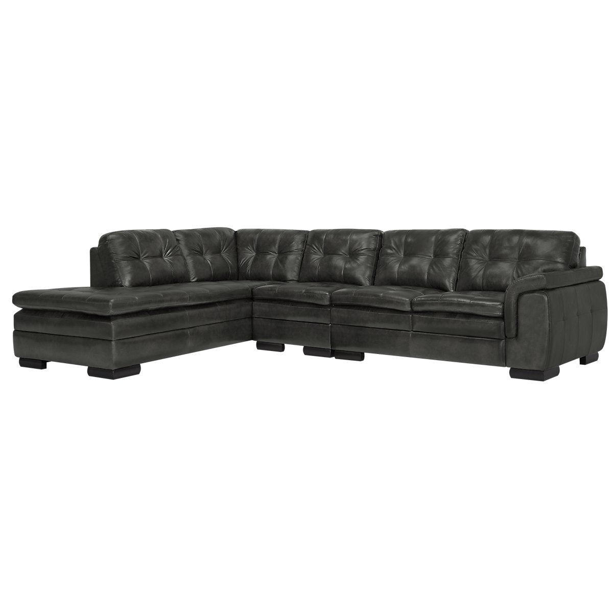 Trevor Dark Gray Leather Large Left Bumper Sectional