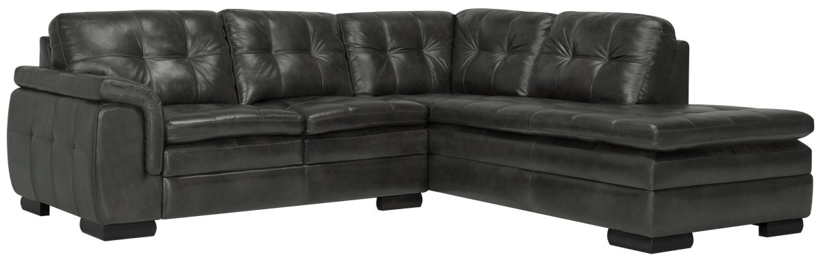 Trevor Dark Gray Leather Small Right Bumper Sectional