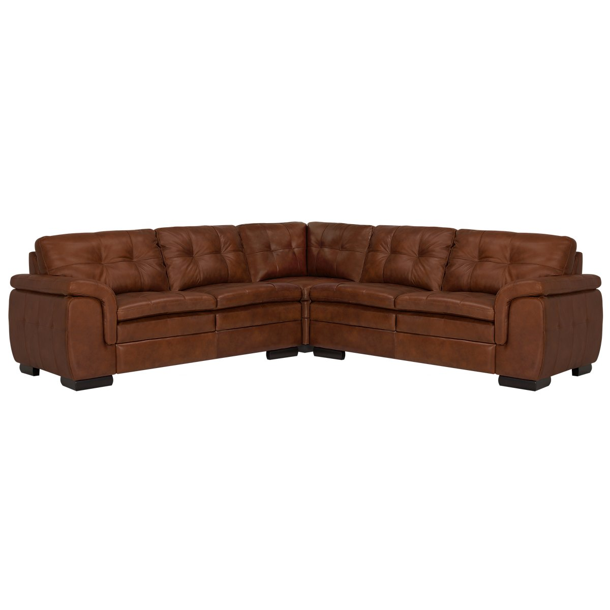 Trevor Medium Brown Leather Small Two-Arm Sectional