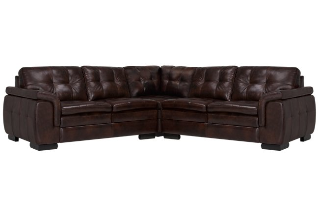 Trevor Dark Brown Leather Small Two-Arm Sectional