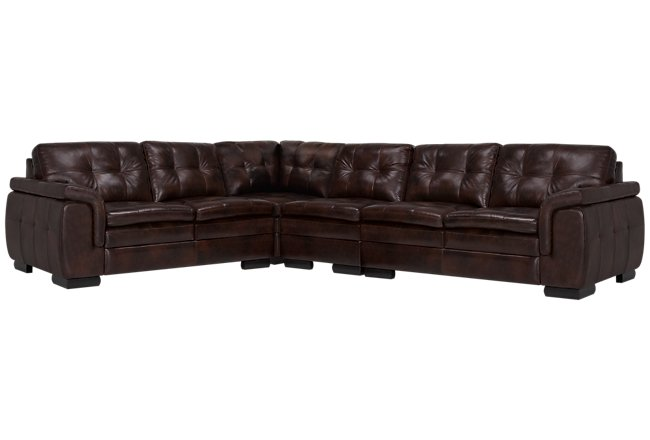 Trevor Dark Brown Leather Large Two-Arm Sectional