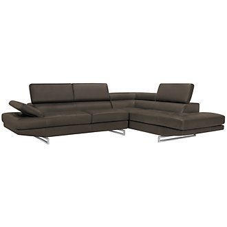 Athena Gray Bonded Leather Right Bumper Sectional