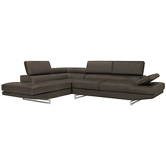 Athena Gray Bonded Leather Left Bumper Sectional
