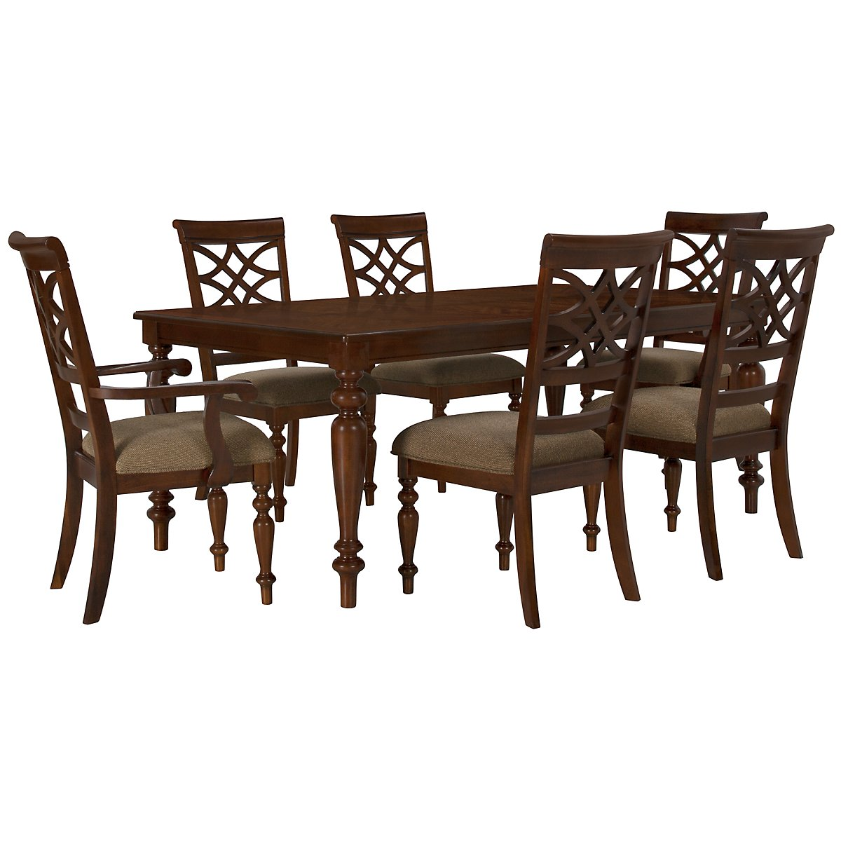 Oxford Mid Tone Rectangular Table & 4 Wood Chairs
