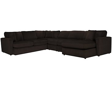 Tara2 Dark Brown Microfiber Right Chaise Sectional