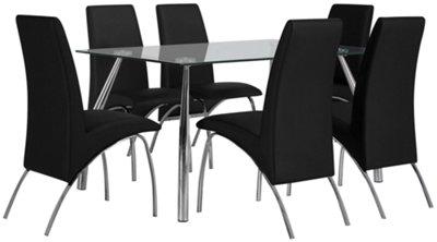 Mensa Black Rectangular Table U0026 4 Upholstered Chairs
