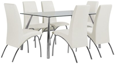 Mensa White Rectangular Table & 4 Upholstered Chairs