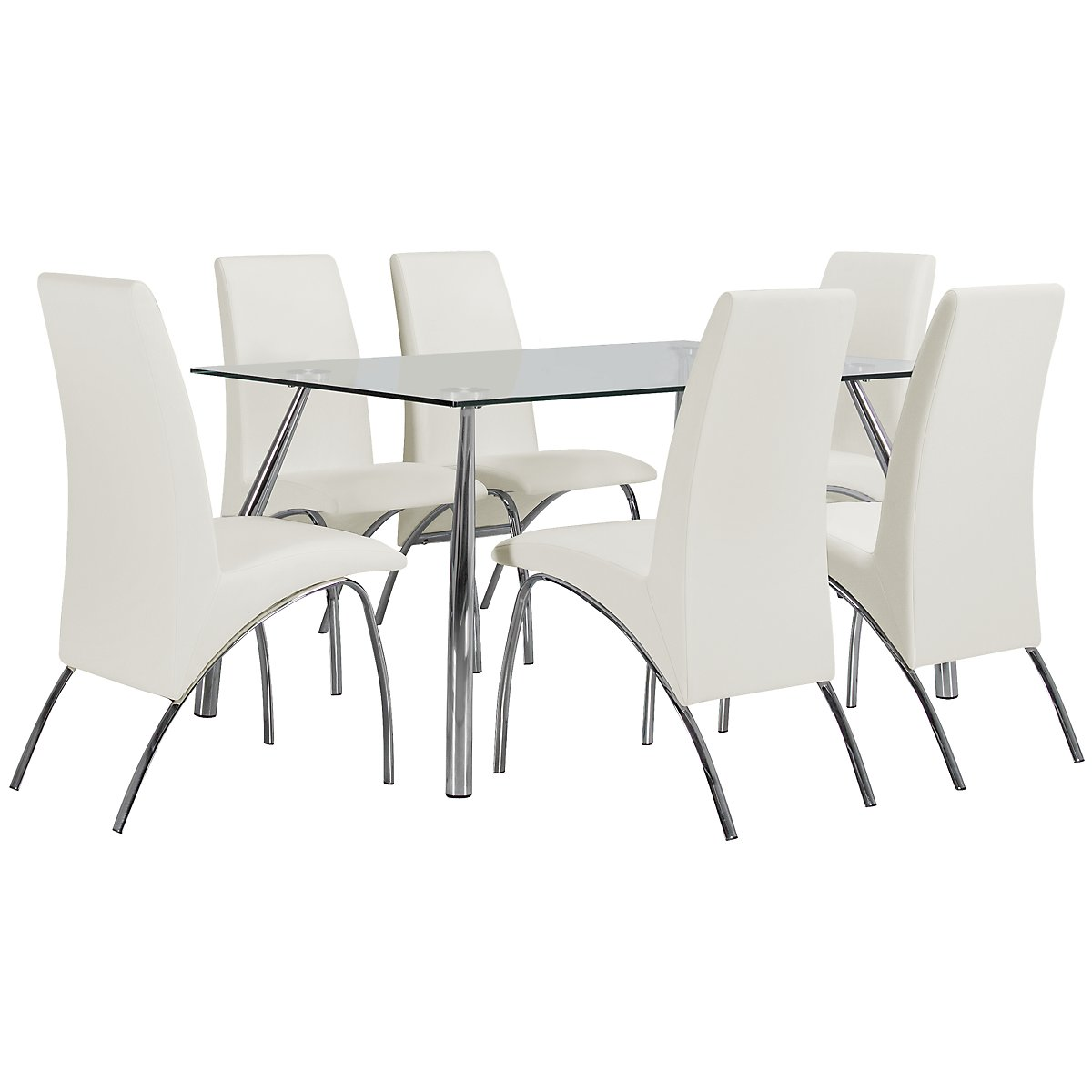 Mensa White Glass Table & 4 Upholstered Chairs
