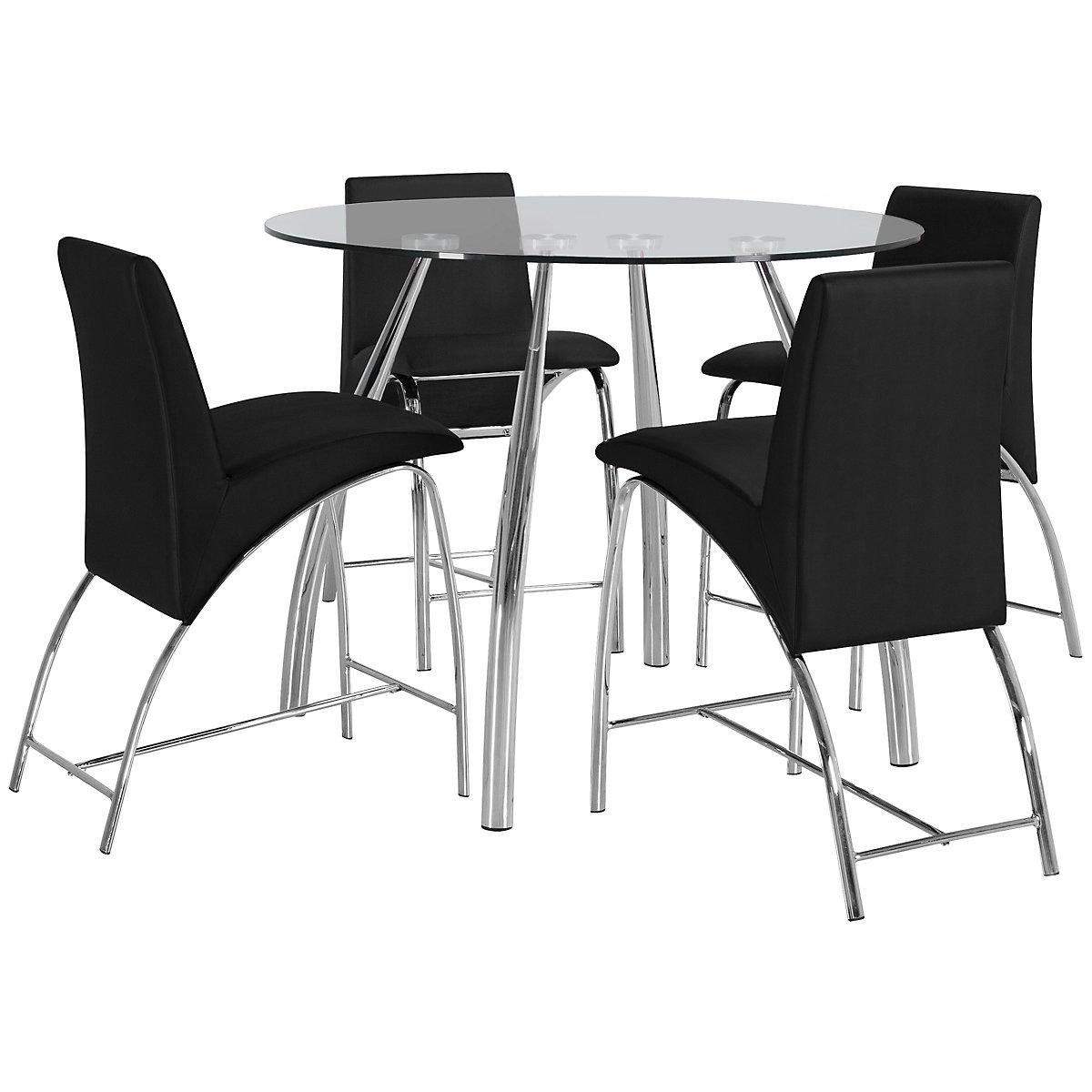 Mensa Black Round High Table & 4 Upholstered Barstools