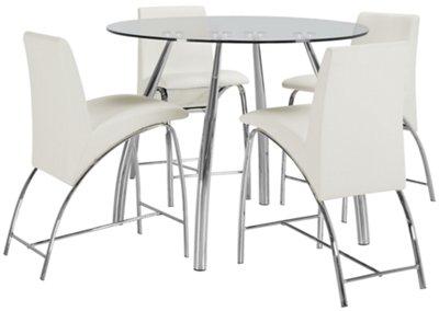 Mensa White Round High Table & 4 Upholstered Barstools