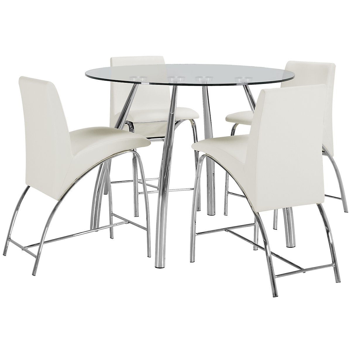 Mensa White Glass High Table & 4 Upholstered Barstools