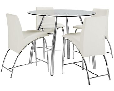 Mensa White Round High Table & 4 Upholstered Barstools