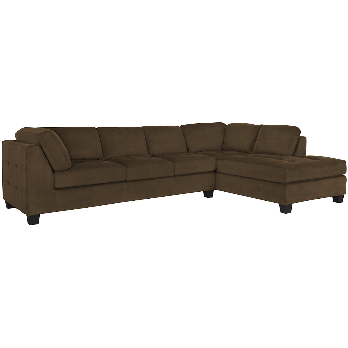 City furniture mercer2 dk brown microfiber right chaise for Brown sectionals with chaise