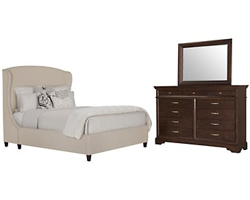 Canyon Light Taupe Upholstered Platform Bedroom