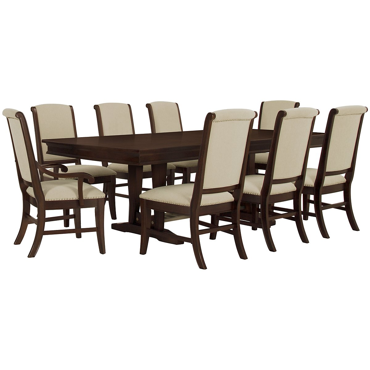 Canyon Dark Tone Trestle Table & 4 Upholstered Chairs