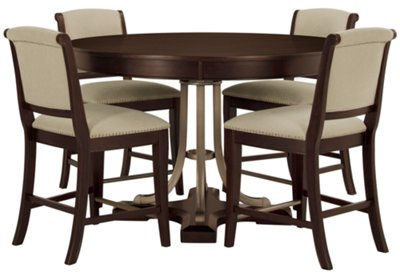 Canyon Dark Tone Round High Table U0026 4 Upholstered Barstools
