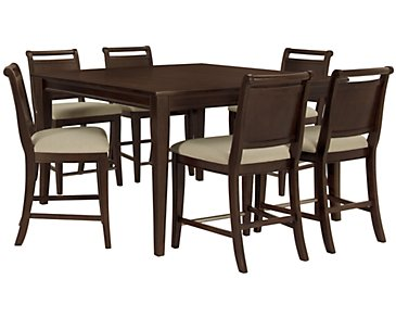 Canyon Dark Tone High Table & 4 Wood Barstools