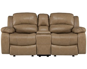 Tyler3 Dark Taupe Leather & Vinyl Reclining Console Loveseat