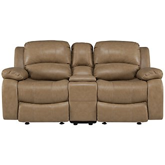 Tyler3 Dark Taupe Leather & Vinyl Power Reclining Console Loveseat
