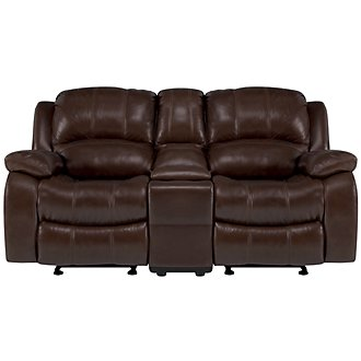 Tyler3 Medium Brown Leather & Vinyl Reclining Console Loveseat
