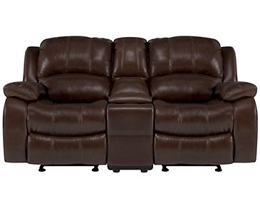 Tyler3 Medium Brown Leather & Vinyl Power Reclining Console Loveseat