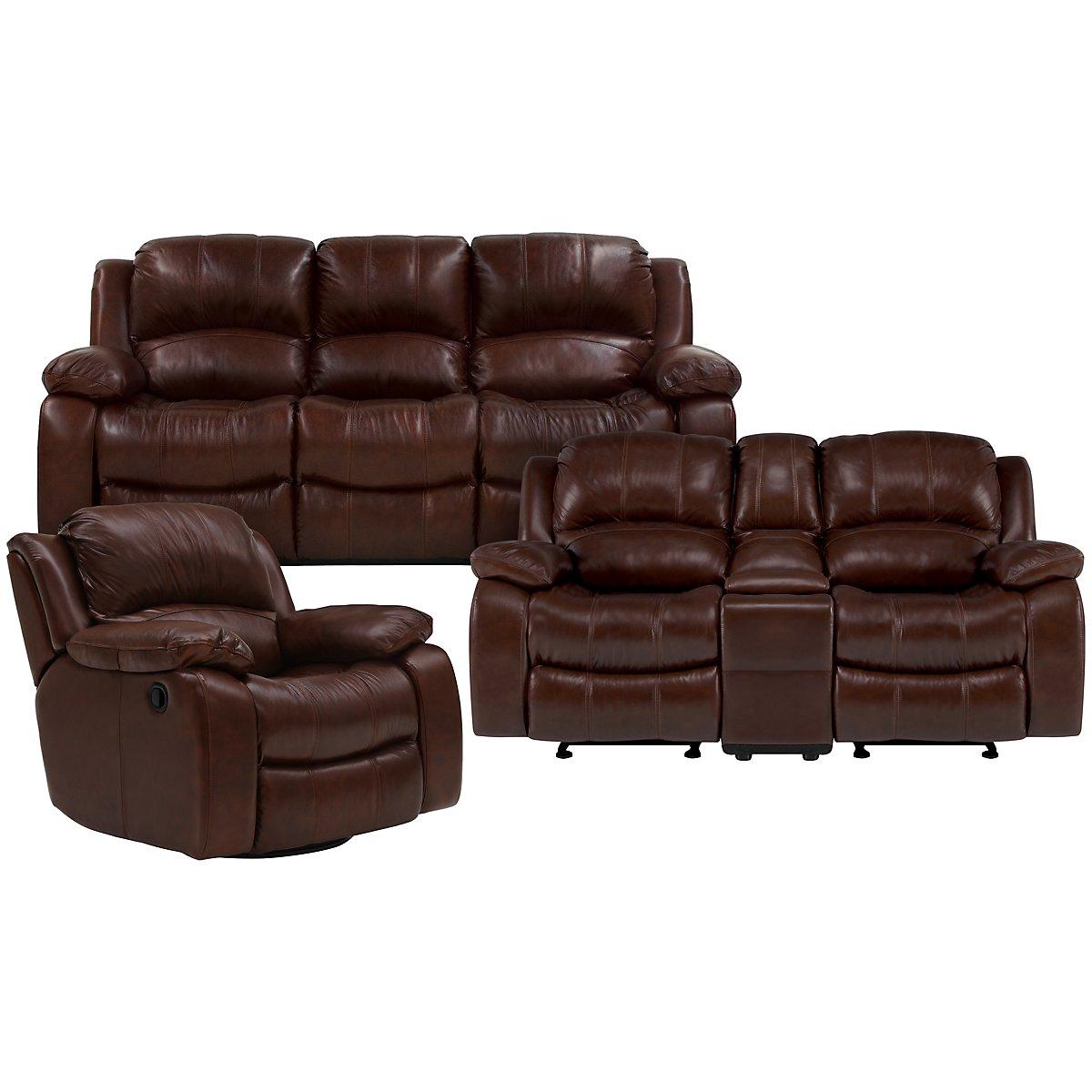 Tyler3 Medium Brown Leather & Vinyl Power Reclining Living Room