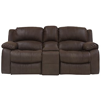 Tyler2 Dark Brown Microfiber Reclining Console Loveseat