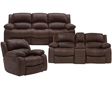 Tyler2 Dark Brown Microfiber Manually Reclining Living Room