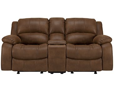 Tyler2 Medium Brown Microfiber Reclining Console Loveseat