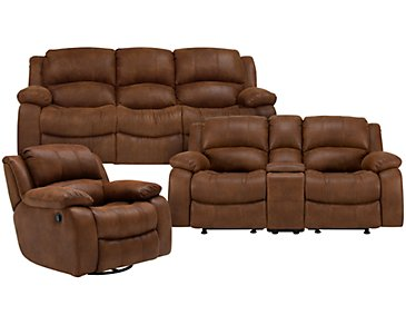 Tyler2 Medium Brown Microfiber Manually Reclining Living Room