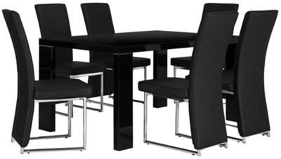 Paris Black Rectangular Table & 4 Upholstered Chairs