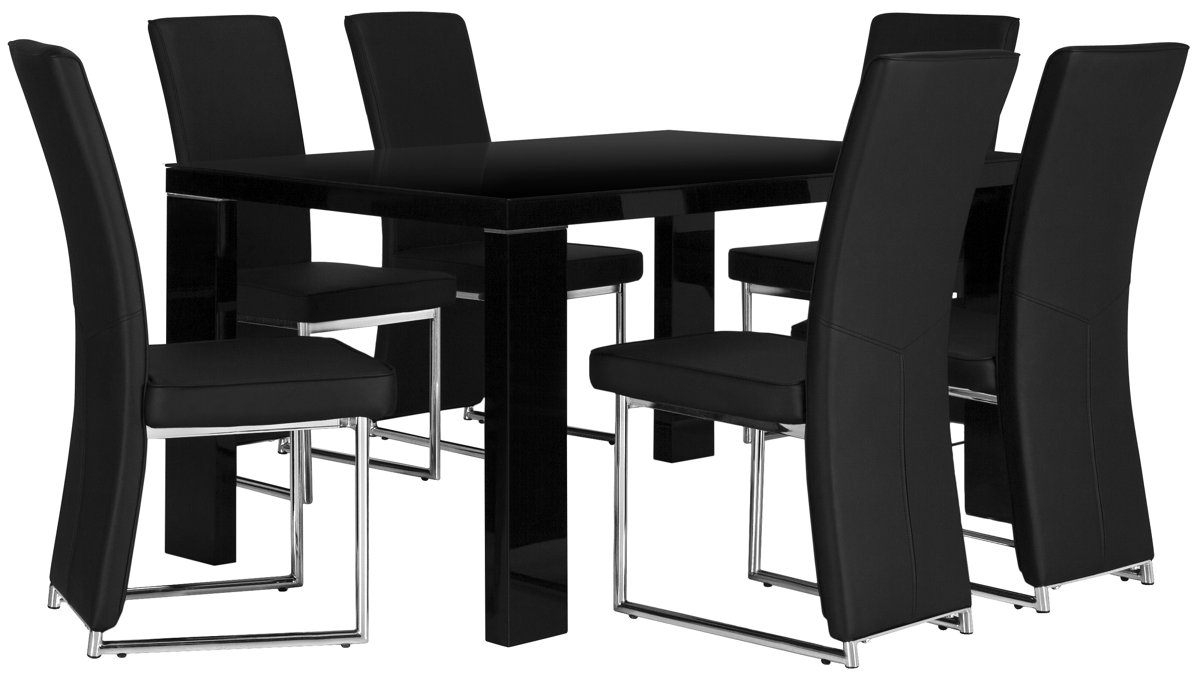Paris Black Rect Table & 4 Upholstered Chairs