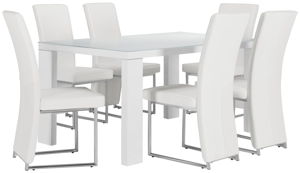 Paris White Rect Table & 4 Upholstered Chairs