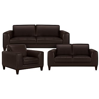 Piper Dark Brown Bonded Leather Living Room