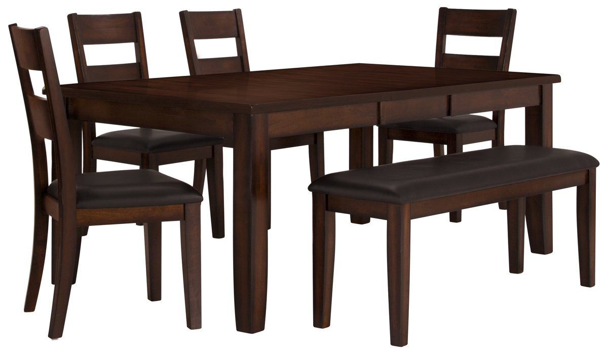 4 Chair Dining Sets city furniture: mango2 dark tone rectangular table, 4 chairs & bench