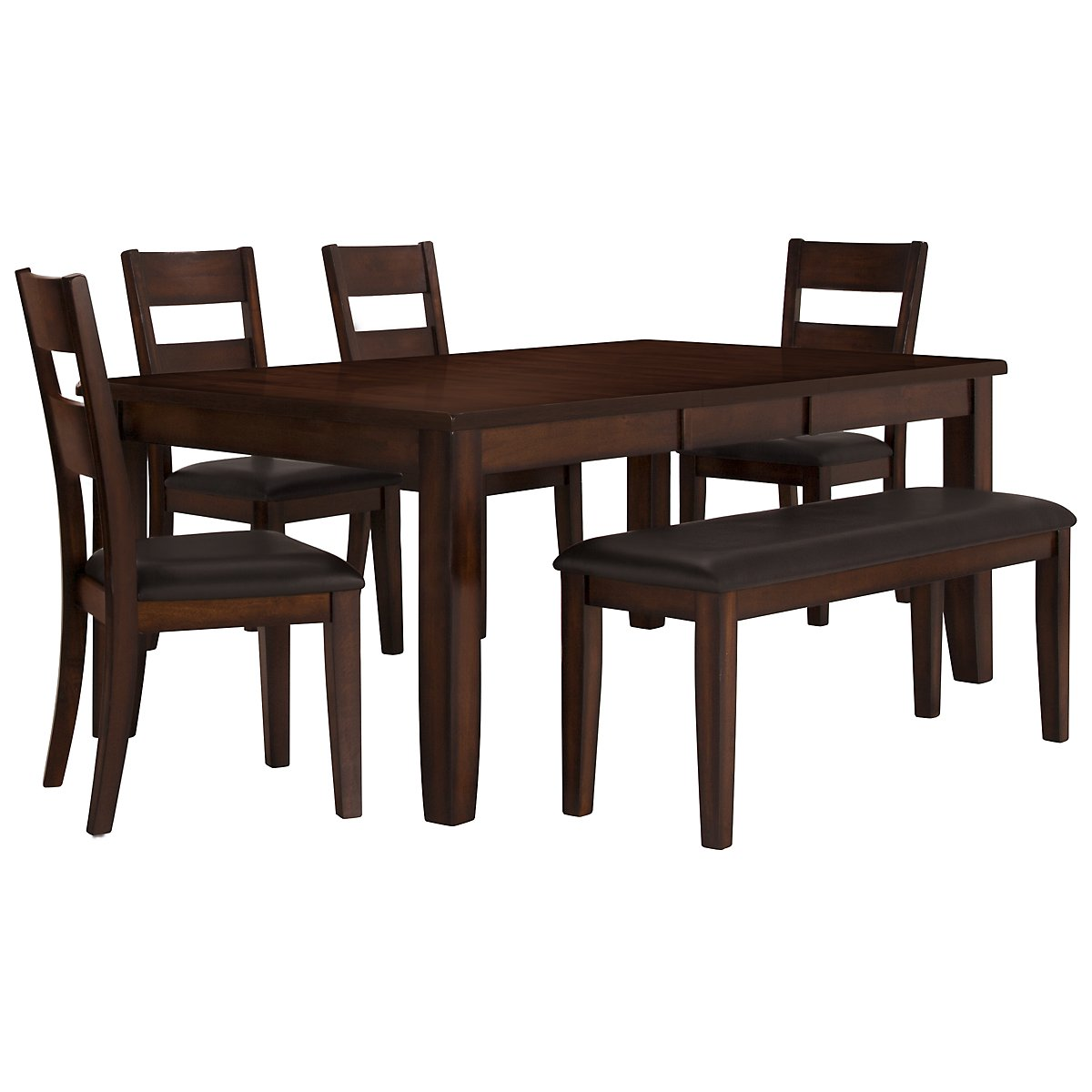 Top City Furniture: Mango2 Dark Tone Rectangular Table, 4 Chairs & Bench GH78