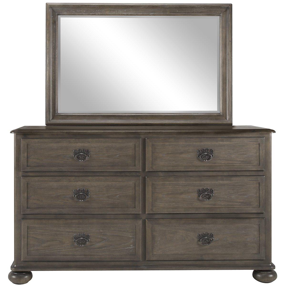 Belgian Oak Light Tone Wood Dresser & Mirror