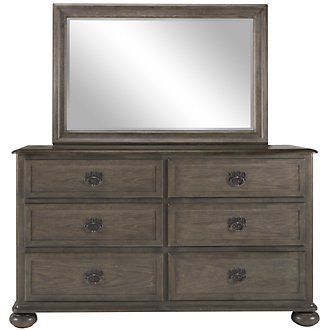 Belgian Oak Light Tone Wood Dresser & Mirror
