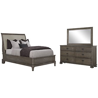 Belgian Oak Light Tone Upholstered Platform Bedroom