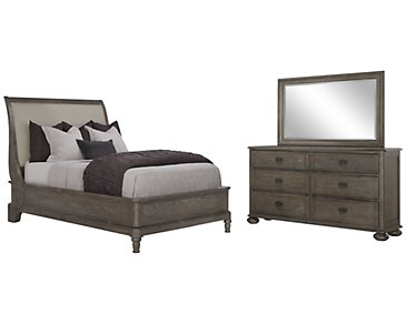Belgian Oak Light Tone Upholstered Platform Bedroom