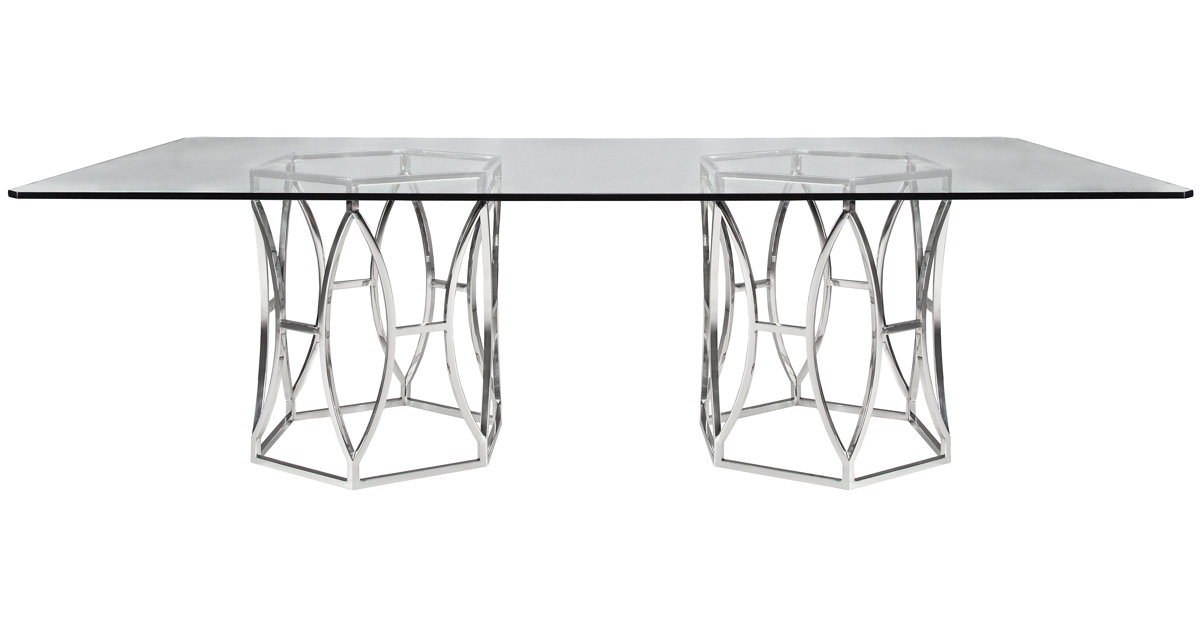 City Furniture Argent Glass Rectangular Table